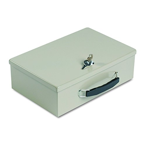 """MMF Industries STEELMASTER Fire-Retardant Security Box for Cash Valuables and Documents, Key Lock, Heavy-Duty Steel, 12.75"""" x 8.25"""" x 4"""", Sand Beige (221614003)"""
