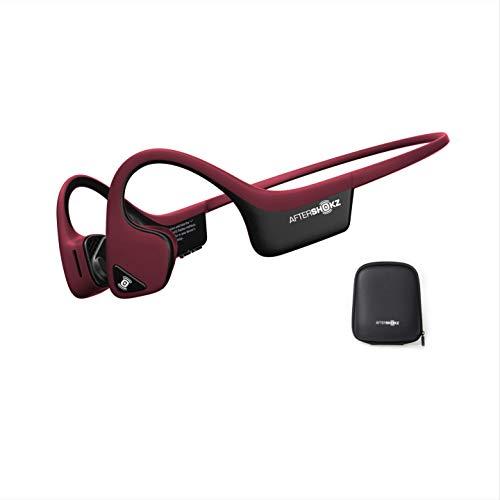 AfterShokz Trekz Air - Auricolari wireless open-ear (orecchie libere) a conduzione ossea con custodia portatile, Rosso