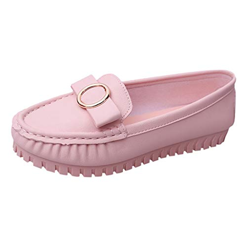 AOJIAN Women Sandals Summer Loafers Bow Knot Slip On Casual Flats Work Shoes (Pink, 7.5)