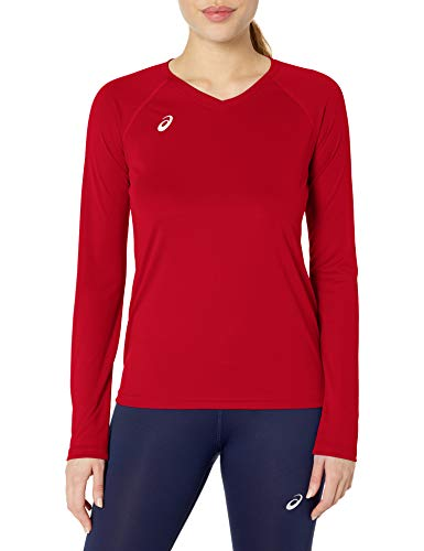 ASICS Women's Circuit Warm-up Long Sleeve, Red, Small