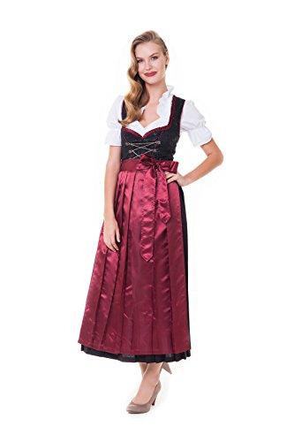 Alpenmärchen 3tlg. Dirndl-Set - Trachtenkleid, Bluse, Schürze, Gr. 42, schwarz - ALM500W
