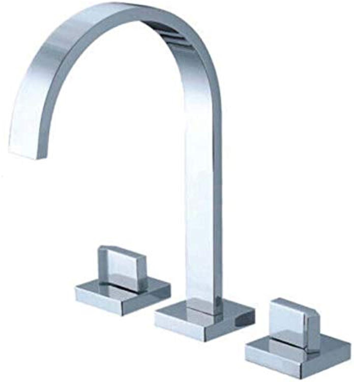 Floungey BadinsGrößetionen Waschtischarmaturen küchenarmaturen dreiteiliger Becken-Wasserhahn Aus Messing Wasserfall Doppel-Dreiloch-Badewanne Wasserhahn Quadratischer Griff