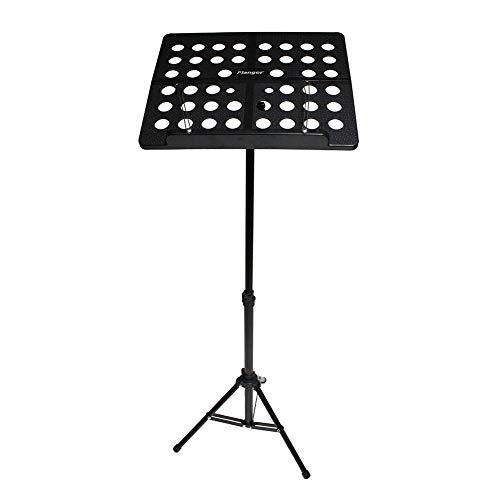 Phoetya Soporte de música para partituras, placa extra ancha, soporte portátil de metal con bolsa de transporte, adecuado para actuación instrumental (negro)