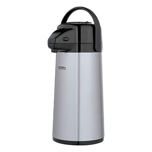 Thermos Glass Vacuum Insulated 2 Quart Pump Pot, Metallic Gray