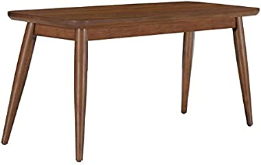Home Fare Mid-Century Wood Dining Bench in Brown Walnut