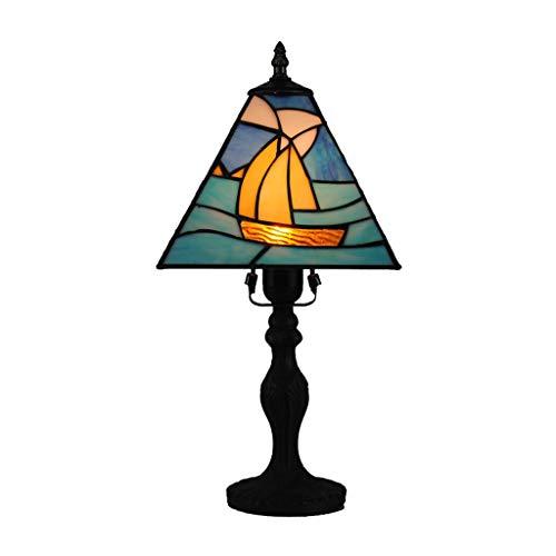 JLXW bureaulamp, 8 inch (20,3 cm), Tiffany-stijl, roestvrij staal, glas, zeilen, design nachtkastje, LED-lampje, decoratief, ideaal voor het lezen van de verlichting