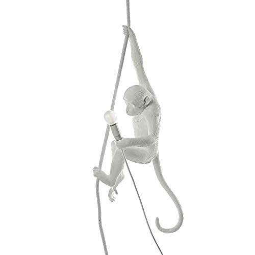 Meim Statuen Apenlamp met touw plafondlamp acryl apen henneptouw LED-lamp, restaurant slaapkamer-studio geschikt (wit)