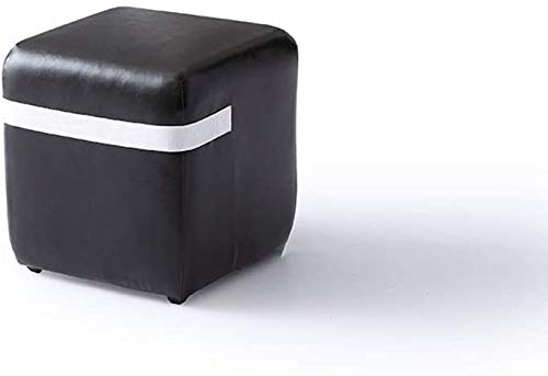 Taburete de Bar Reposapies Salon Sofá Creativa Banco de Cuero Sillones Taburetes Sentado Muelles Muelles Moda heces portátil multifunción heces QAF1016 (Color : Black, Size : Square)