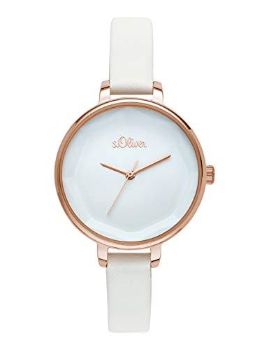 s.Oliver Time Damen Analog Quarz Uhr mit PU Armband SO-3583-LQ