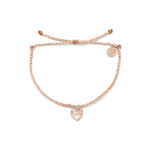 Pura Vida Rose Gold Surf Love Bracelet - 100% Waterproof, Adjustable Band - Brand Charm, Blush