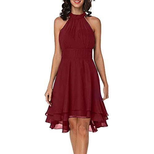 QIMANZI Damen Abendkleid Ärmellos Cocktailkleid Neckholder Elegant Brautjungfernkleid Asymmetrisches Partykleid(Rot,DE-38/CN-L)