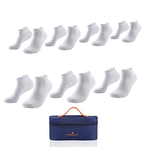 EINSIEBTEL® EINJOGGING Unisex Laufsocken, Sneaker Socken, Sportsocken mit Frotteesohle, Herren und Damen, 7er Pack, Nachhaltige Verpackung mit Aufbewahrungstasche (7X White, 39-42)
