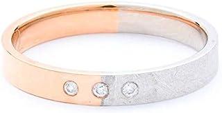 Breuning 18K White/Rose Matte & Shiny Finish 0.03ct Round cut Diamond Wedding Ring [BR5647]