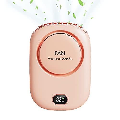BOJLY Mini Ventilador USB Portátil,Ventiladores de Cuello de Mano Portátil con Cuerda,2000mAh Batería Recargable Hand Fan3 Velocidades,para Oficina Hogar Viajes Aire Libre (Rosado)
