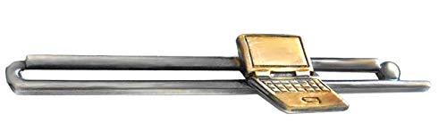 Unbekannt Krawattennadel Laptop Notebook antikfarben matt/geschwärzt Patinastyle ca. 7 cm m. i. Germany + brauner Geschenkbox