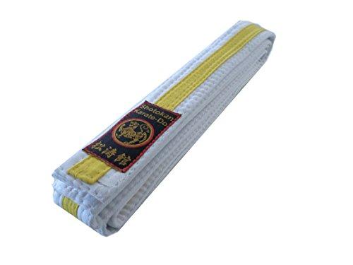 Budodrake Karategürtel weiß-gelb mit Shotokan Label (220)
