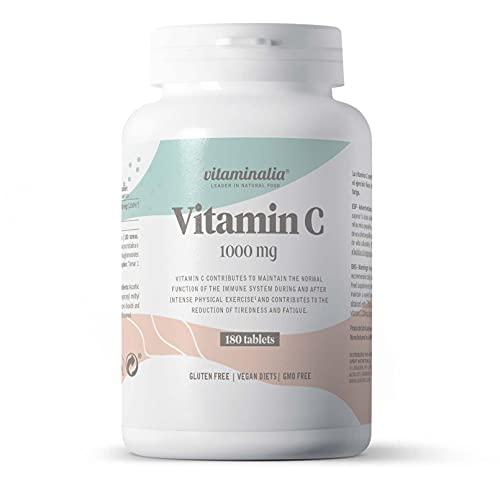 Vitamina C 1000mg de Vitaminalia   Dosis Alta de vitamina C Pura De Ácido Ascórbico sin Sabor para 6 Meses   Vitaminas para el cansancio   Vegano, Sin OGM, Sin Gluten, Sin Lactosa   180 Tabletas