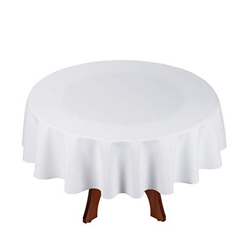 StoffTex Tischdecke Tischläufer Tischtuch Tischwäsche Tischdekoration Tafeltuch (Weiß, Rund Ø 140cm)