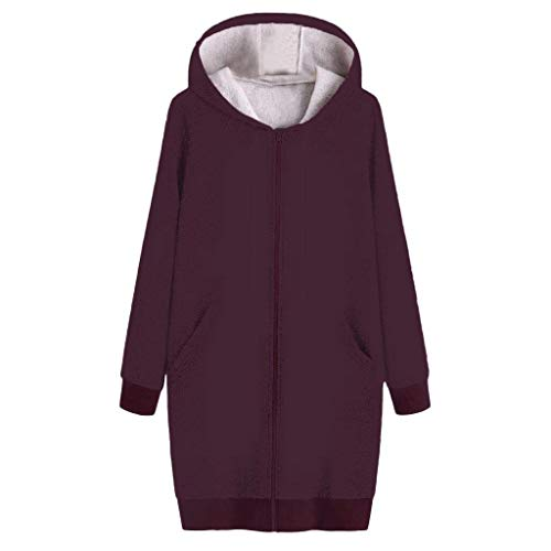 Affordable WEISUN Women Winter Long Coats Vintage Warm Loose Solid Color Hooded Pockets Coats Jacket...