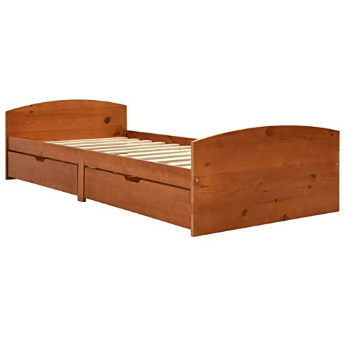 Tidyard Estructura de Cama con 2 cajones Cama Doble, Modelo Kendra Madera Madera Pino marrón Miel 90x200 cm (colchón no Incluido) 3#
