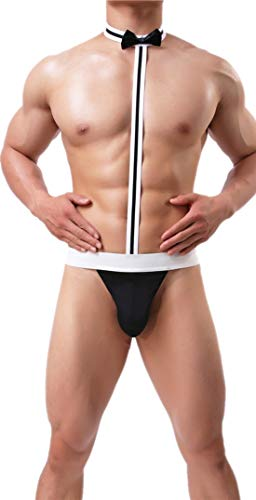 GUKOO Disfraz Sexy Hombre Suspensorios G-String Calzoncillos Camarero Deportivo Tanga Slip Ropa Interior
