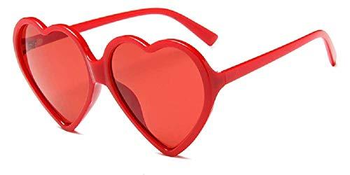 Gafas de sol de corazón para mujer - lolita - transparente - niña - polarizadas - uv400 - montura roja - lentes rojas