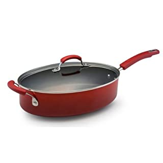 Rachael Ray Classic Brights Hard Enamel Nonstick 5-Quart Covered Oval Sauté with Helper Handle, Red Gradient (B005C3XGH4) | Amazon price tracker / tracking, Amazon price history charts, Amazon price watches, Amazon price drop alerts
