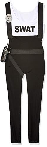 Leg Avenue Women's 3pc.swat Bombshell,Suspender Jumpsuit, Belt, and Toy Walkie Talkie, Black, Medium