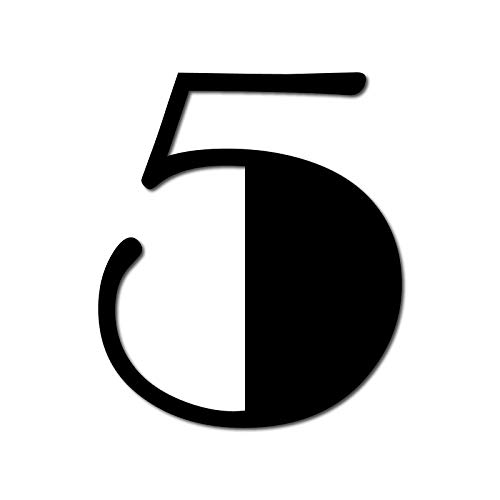 Modern Floating House Number 5, Broadway Door Numbers in 3 Sizes (15, 20, 25cm / 5.9, 7.8, 9.8in), incl. Fixings, Colour:Black, Size:20cm / 7.9'' / 200mm