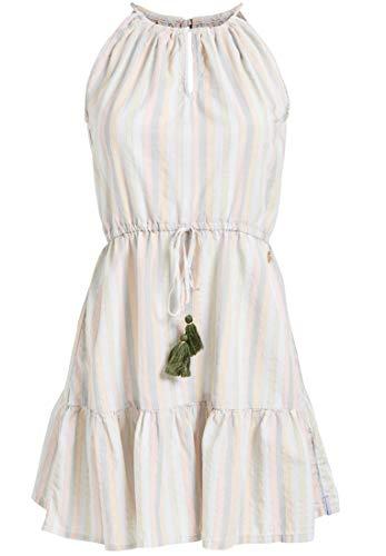 khujo Damen Sommerkleid MYRIEM leichtes Trägerkleid mit Volants und Trägern zum Binden