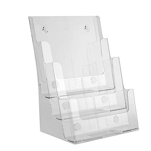 Asffdhley Organizer für die Ablage von Briefen Desktop Data Display Stand Acryl A4 dreistufige Zeitungen und Zeitschriften Propaganda Frame Card Box (Clear Crystal Color) für Home Office Schule