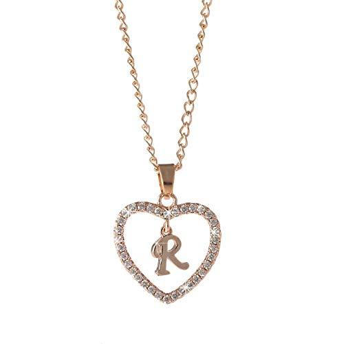 KKP Letter Necklace 26 Letter Zircon Heart Necklace Jewelry Love Pendant Necklace