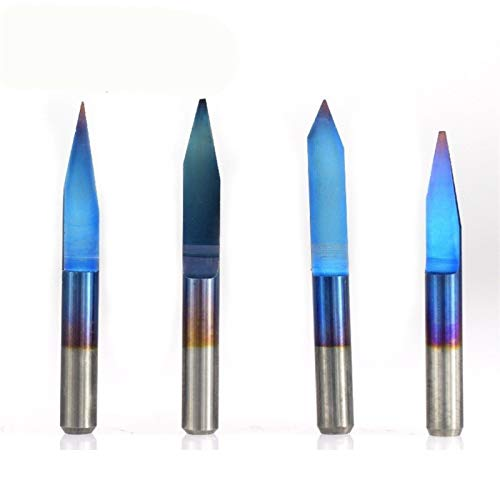 XBF-TOOL, 10pcs 45/60/90 Grados Azul Revestido la Forma de V Fresa de carburo de Fondo Plano de PCB pedacitos del Grabado del CNC Router Cortador (tamaño : 10PCS degree45X0.2mm)
