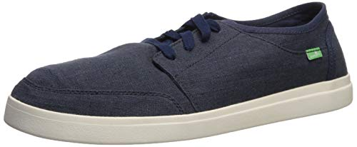 Sanuk Herren Vagabond Lace Linen Sneaker Turnschuh, Navy, 38.5 EU