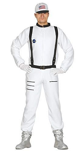 shoperama Kostüm Astronaut Herren Overall mit Basecap Raumfahrer Kosmonaut NASA ESA Space Weltraum Weltall Raumschiff Apollo, Größe:XL