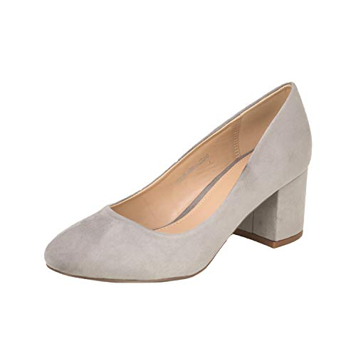 Fitters Footwear That Fits Damen Pump Sesy Microfibre Pumps mit Blockabsatz Übergröße (44 EU, hellgrau)
