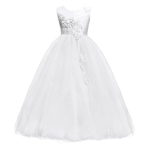 IBTOM CASTLE Fiore Ragazze Bambina Lungo Cerimonia Ricamo Vestito Elegante Bambini Principessa Formale Pageant Bianco 15-16 Anni