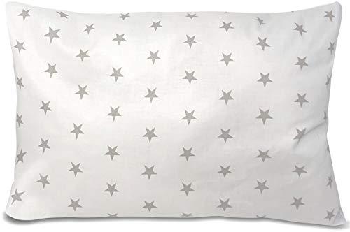 BALBINA Kinder Kissenbezug Kissenhülle Baumwolle Deko Muster (Sterne Weiß, 80x80 cm)