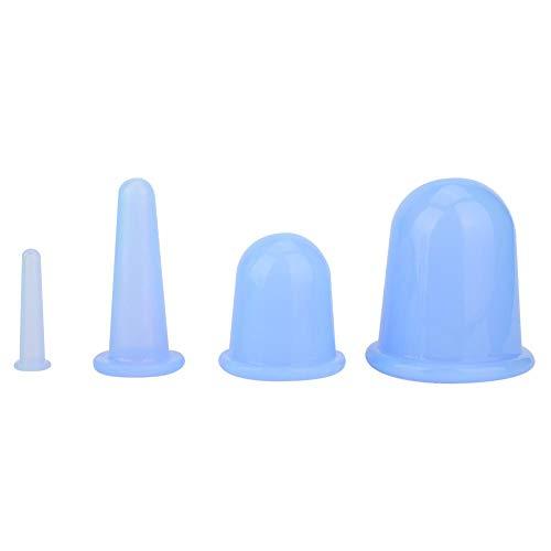 4pcs Vaccum Facial Massager Cupping Cup pour Cellulite Body Massage Aspiration Tasses Thérapie Lifting Du Visage Raffermissant Soins Thérapie Traitement(Bleu)