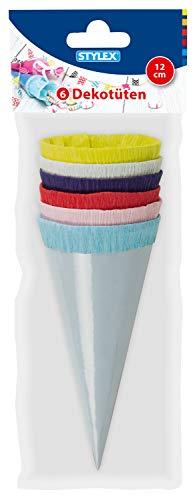 Stylex 47173 - Dekotüten, 6 Mini Zuckertüten, ca. 12 cm groß, in den Farben: hellblau, rosa, rot, dunkelblau, hellgrün, gelb, aus Glanzkarton, mit Krepppapierverschluss, ideal für den Schulanfang