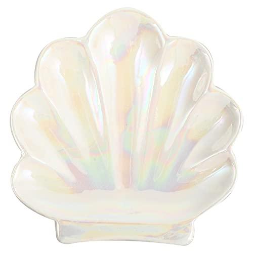 FAVOMOTO de Joyería de Cáscara Iridiscente Sparkle Mermaid Bandeja de Cristal de Concha de Mar de Joyería Anillo Soporte Bandeja de Almacenamiento