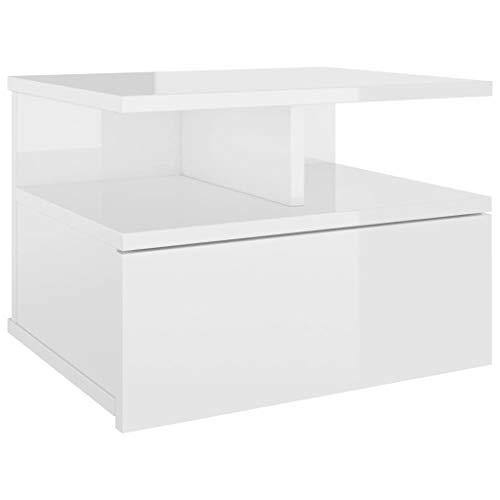 Preisvergleich Produktbild Hängender Nachttisch Hochglanz-Weiß 40 x 31 x 27 cm Spanplatte