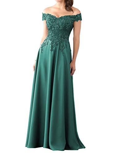 HUINI Abendkleider Lang Chiffon Ballkleid Brautjungfernkleider Spitze Brautkleider Vintage Hochzeit Partykleider Pfau 40