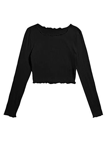 Floerns Women's Lettuce Trim Shirt Long Sleeve Rib Knit Casual Crop Top Tee Black XL