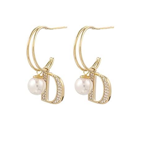 Moda de lujo doble letra D pendientes de perlas de circonita con incrustaciones de pendientes en forma de C pendientes de joyería para mujer regalos