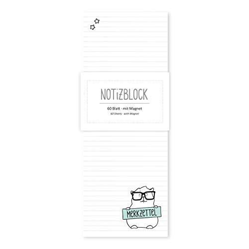 Notizblock, Kühlschrankblock, Einkaufsblock gebunden, 60 Blatt, kariert, lustig, magnetisch für Kühlschrank mit Motiv, Katze mit Brille
