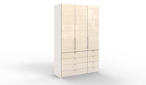 WIEMANN Loft Kleiderschrank, Schlafzimmerschrank, Gleittürenschrank, Drehtürenschrank, mit Schubladen, Glas magnolie, weiß, B/H/T 150 x 236 x 58 cm