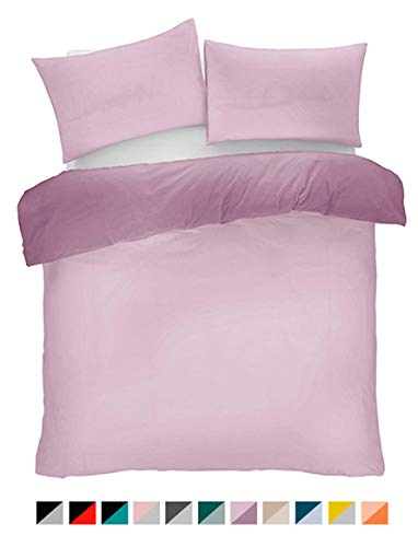 Lions Lilac and Muave Reversible Plain Duvet Quilt Cover Set Single With Pillowcase Easy Care Bedding
