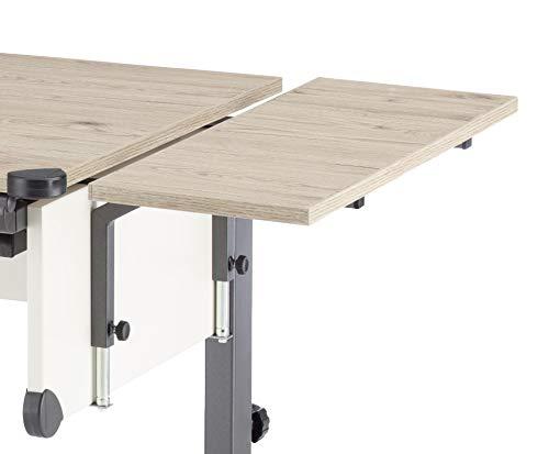 Kettler Seitenplatte für Schreibtisch Cool Top/Comfort/College Box, Platte melaminharzbeschichtet mit Dickkantenumleimer, Eiche/Anthrazit, 25 x 1,9 x 68 cm