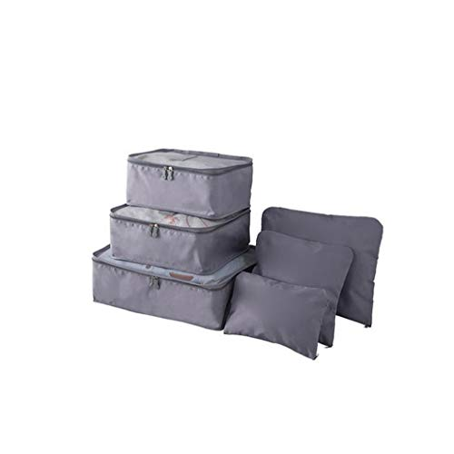 Waterproof Travel Storage Bags Luggage Organizer Pouch Packing Cube Clothing Sorting Packages Pack of 6Pcs Gray L, for Indoor and Outdoor